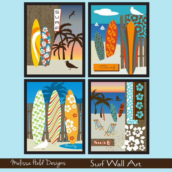 Surf Wall Art Digital Paper & Backgrounds Melissa Held Designs    Mygrafico
