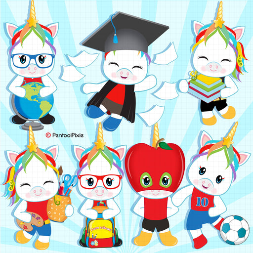Back to school Boy Unicorns clipart