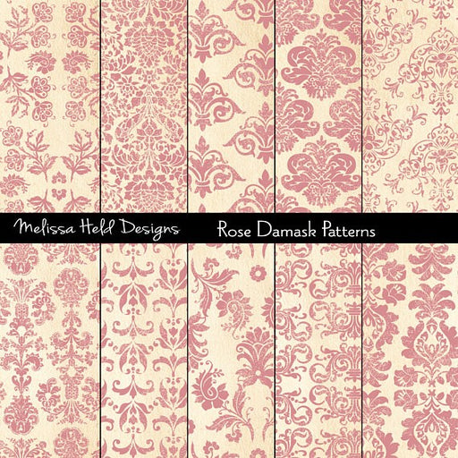 Rose Damask Patterns Digital Paper & Backgrounds Melissa Held Designs    Mygrafico