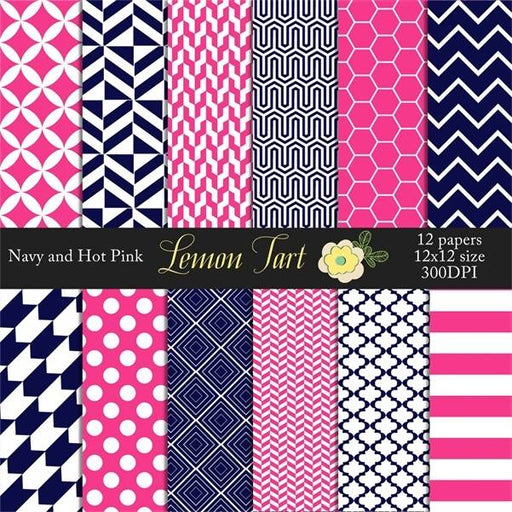 Navy Pink Modern design Digital Paper & Backgrounds Lemon Tart    Mygrafico