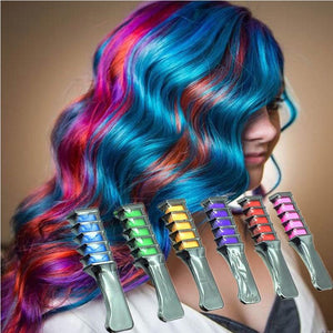 Temporary Bright Hair Chalk Set - Metallic Glitter for All Hair Colors- Built in Sealant,For Kids Hair Dyeing Party and Cosplay DIY, 6 Colors