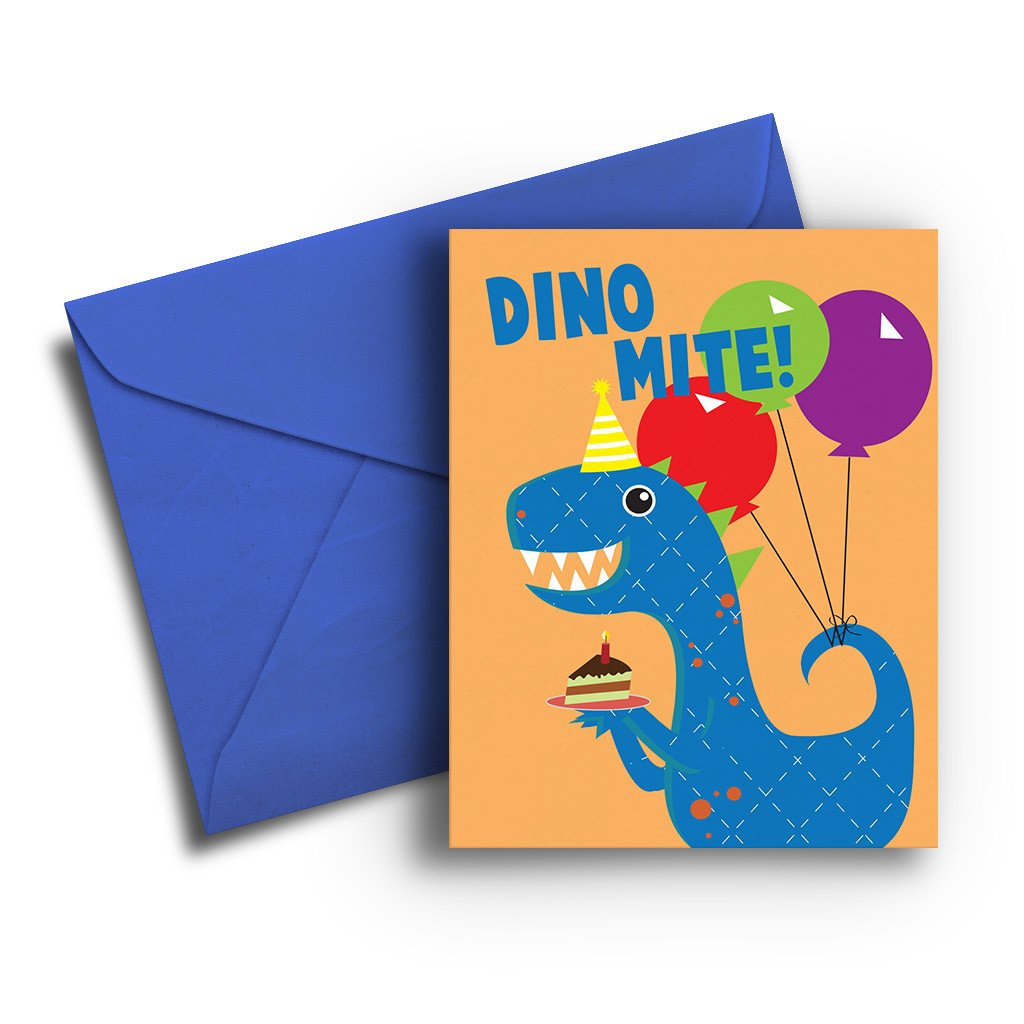 Dino Mite Kids Birthday Card - Fresh Frances Greeting Cards