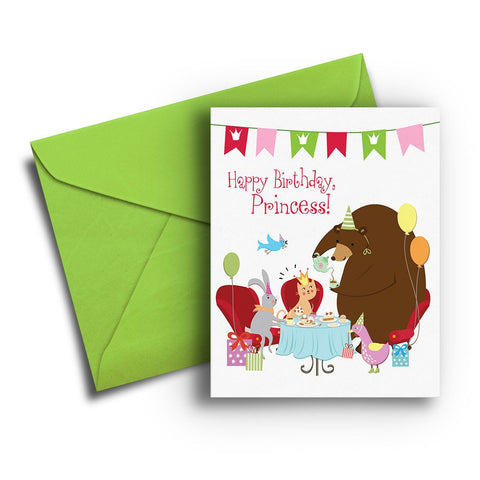 Animal Princess Tea Kids Birthday Card