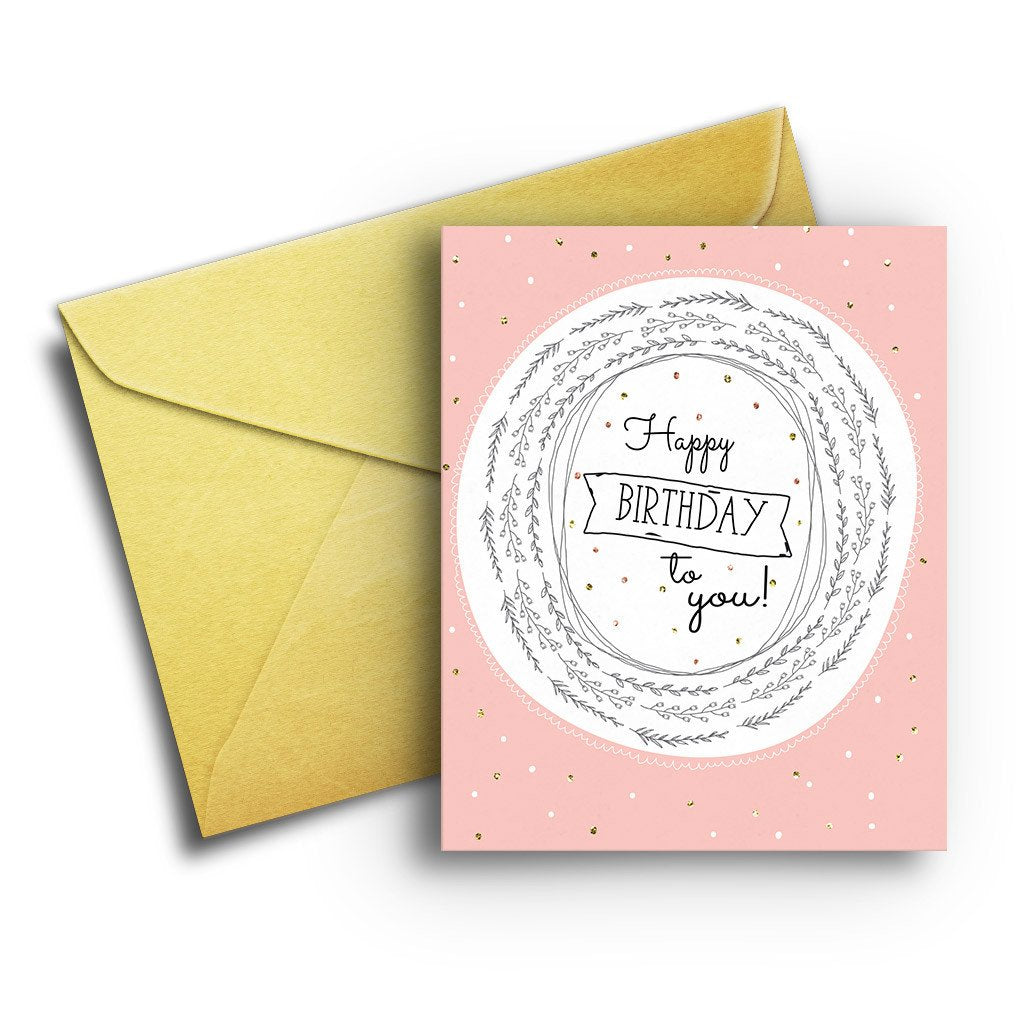 Blush and Gold Birthday - Fresh Frances Greeting Cards
