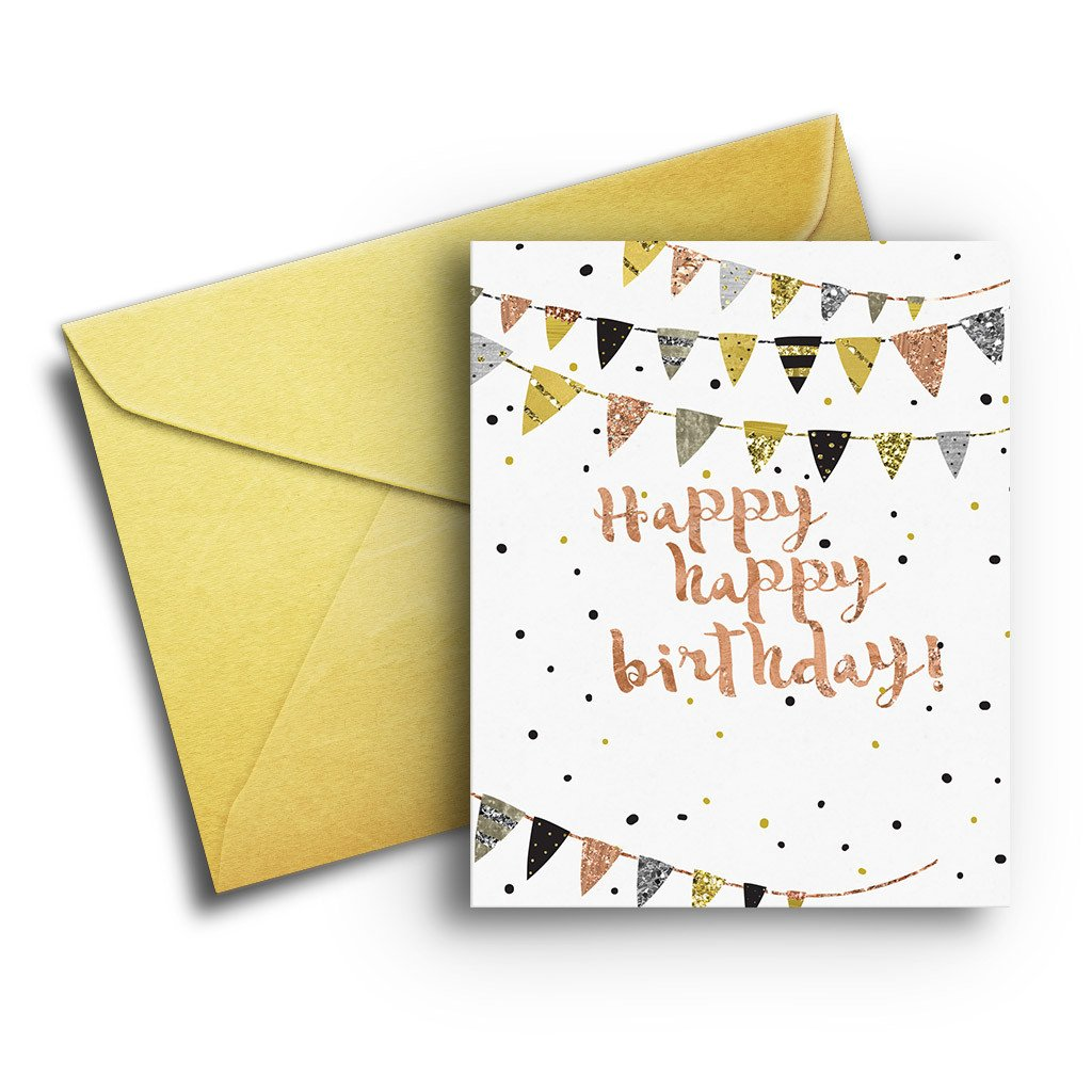 Metallic Birthday Flags - Fresh Frances Greeting Cards