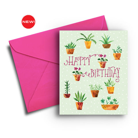 Potted Plants Birthday Card
