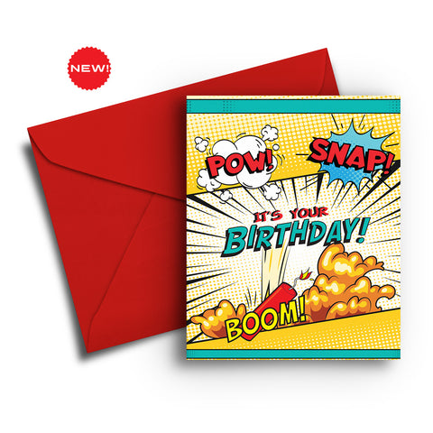 Comic Book Birthday Card