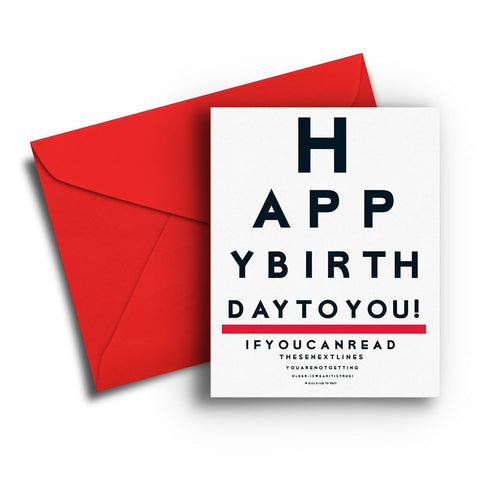 Eye Chart Birthday Card