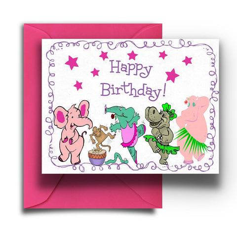 Dancing Animals Kids Birthday Card
