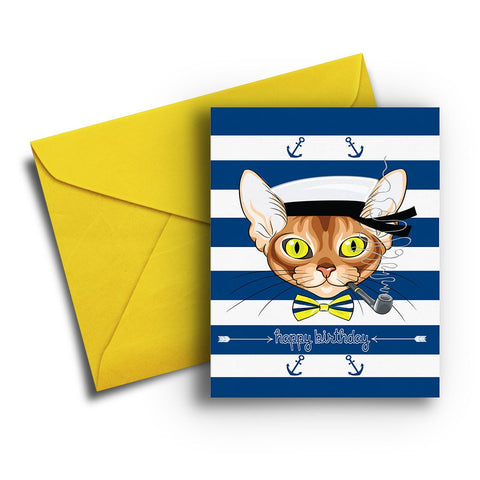 Sailor Cat Birthday Card