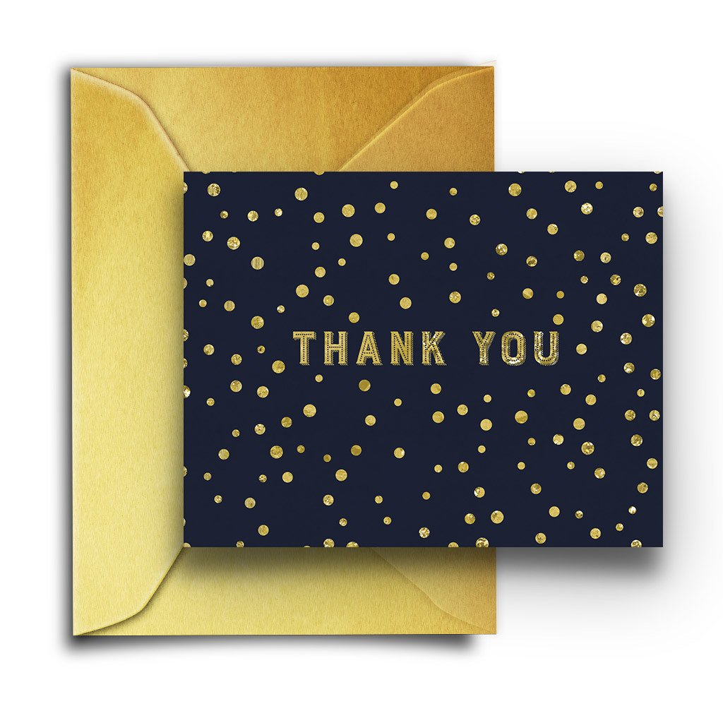 Navy & Gold Spotted Boxed Notes - Fresh Frances Greeting Cards