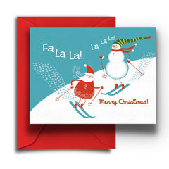 Skiing Santa Christmas Card - Fresh Frances Greeting Cards