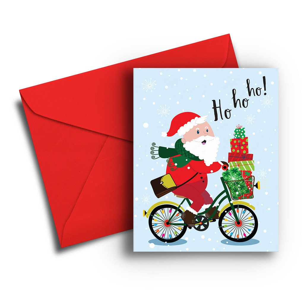 Santa on a Bike Card - Fresh Frances Greeting Cards