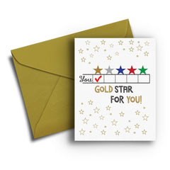 Gold Star for You Congratulations Card - Fresh Frances Greeting Cards
