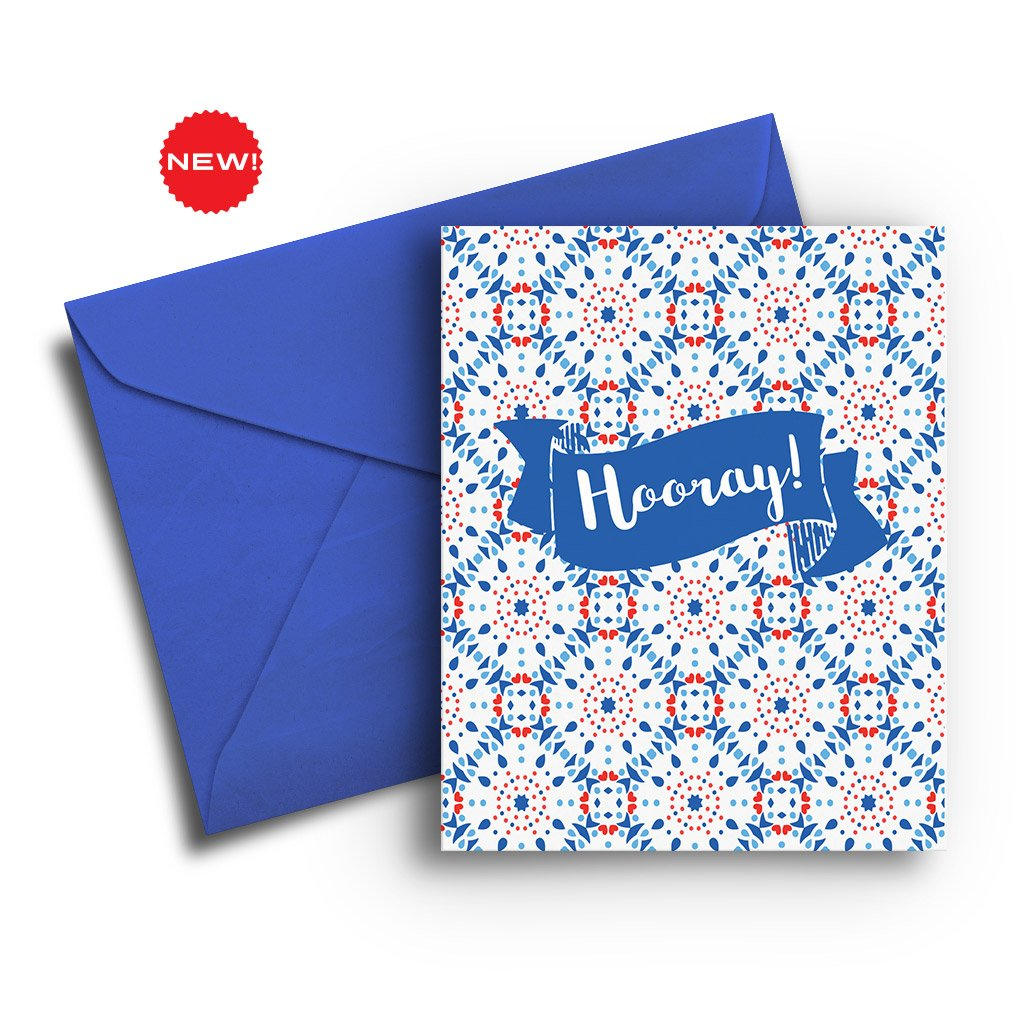 Hooray Pattern Congratulations Card - Fresh Frances Greeting Cards