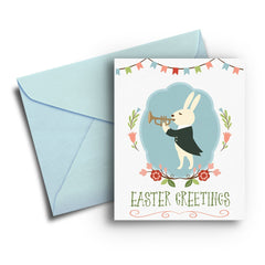 Bunny Trumpeteer Easter Card - Fresh Frances Greeting Cards