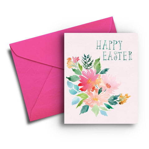 Watercolor Flowers Easter Card