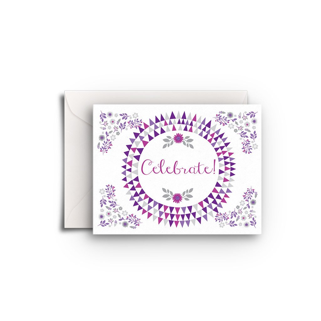 Purple Flowers Gift Enclosure - Fresh Frances Greeting Cards