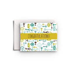 Congratulations Keys Gift Enclosure - Fresh Frances Greeting Cards