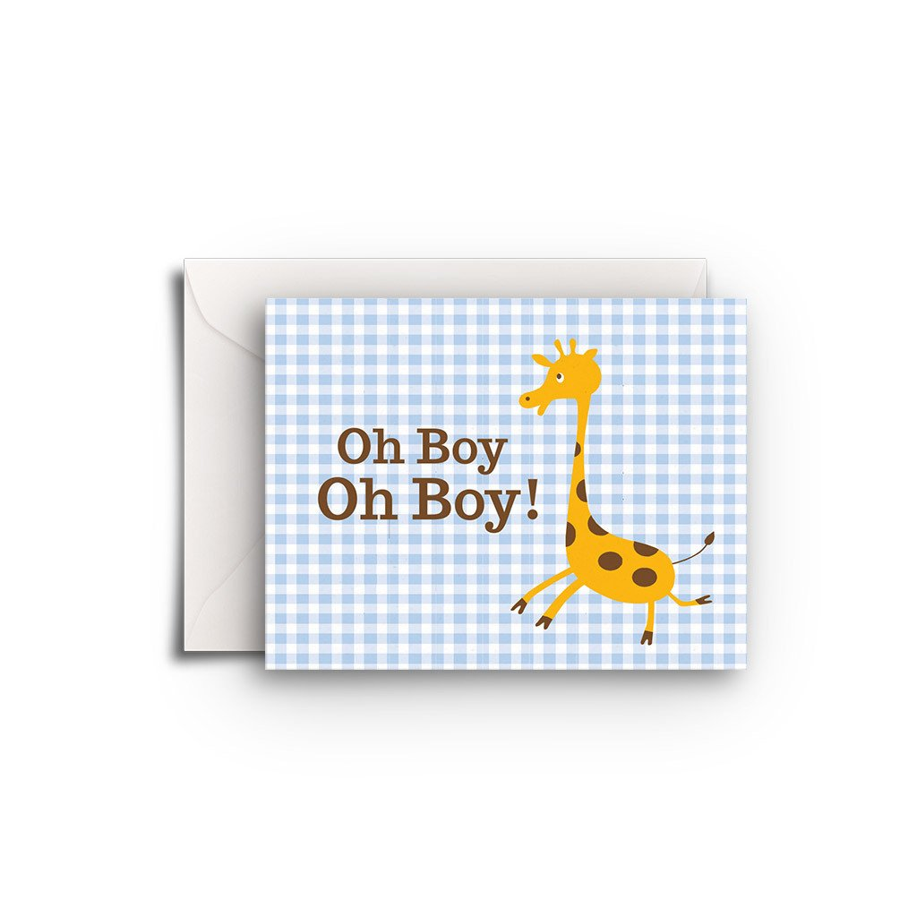Baby Boy Giraffe Gift Enclosure - Fresh Frances Greeting Cards