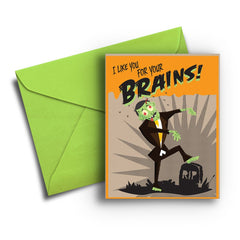 Zombie Brains Halloween Card