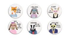 Hipster Readers Buttons - Fresh Frances Greeting Cards