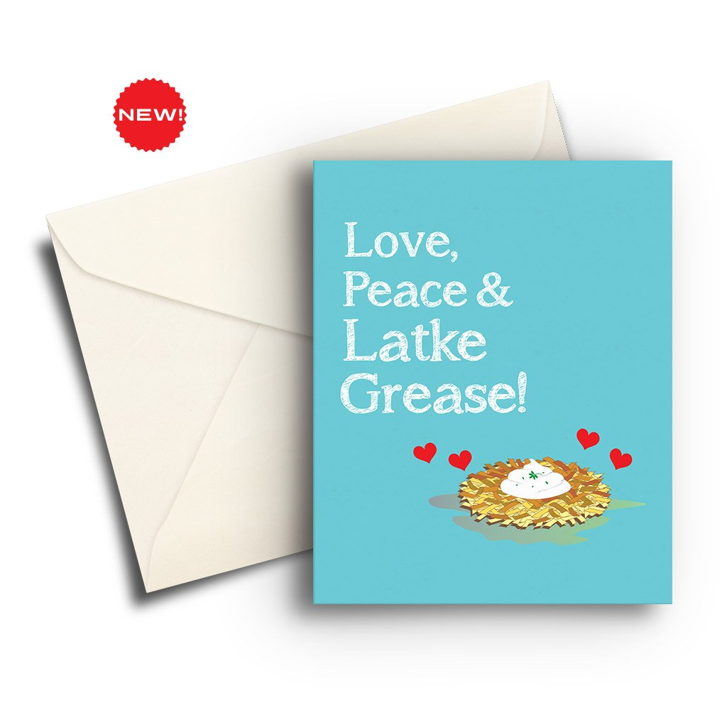 Love, Peace & Latke Grease Card - Fresh Frances Greeting Cards
