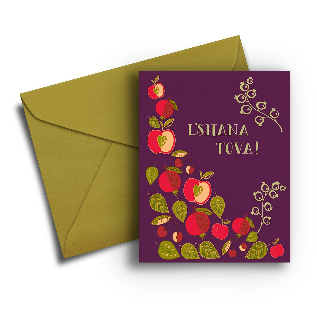 Pomegranate Jewish New Year's Card - Fresh Frances Greeting Cards