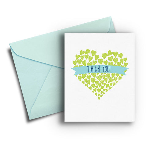 Lime Heart Thank You Card