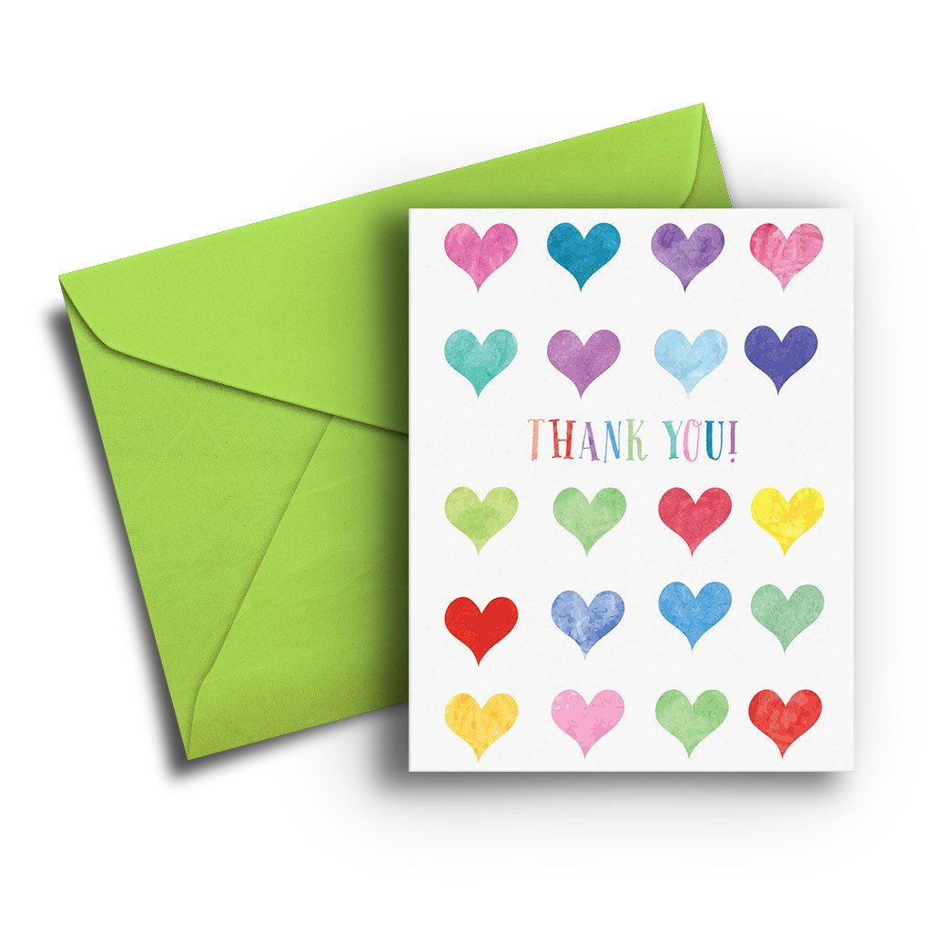 Watercolor Hearts Thank You Card