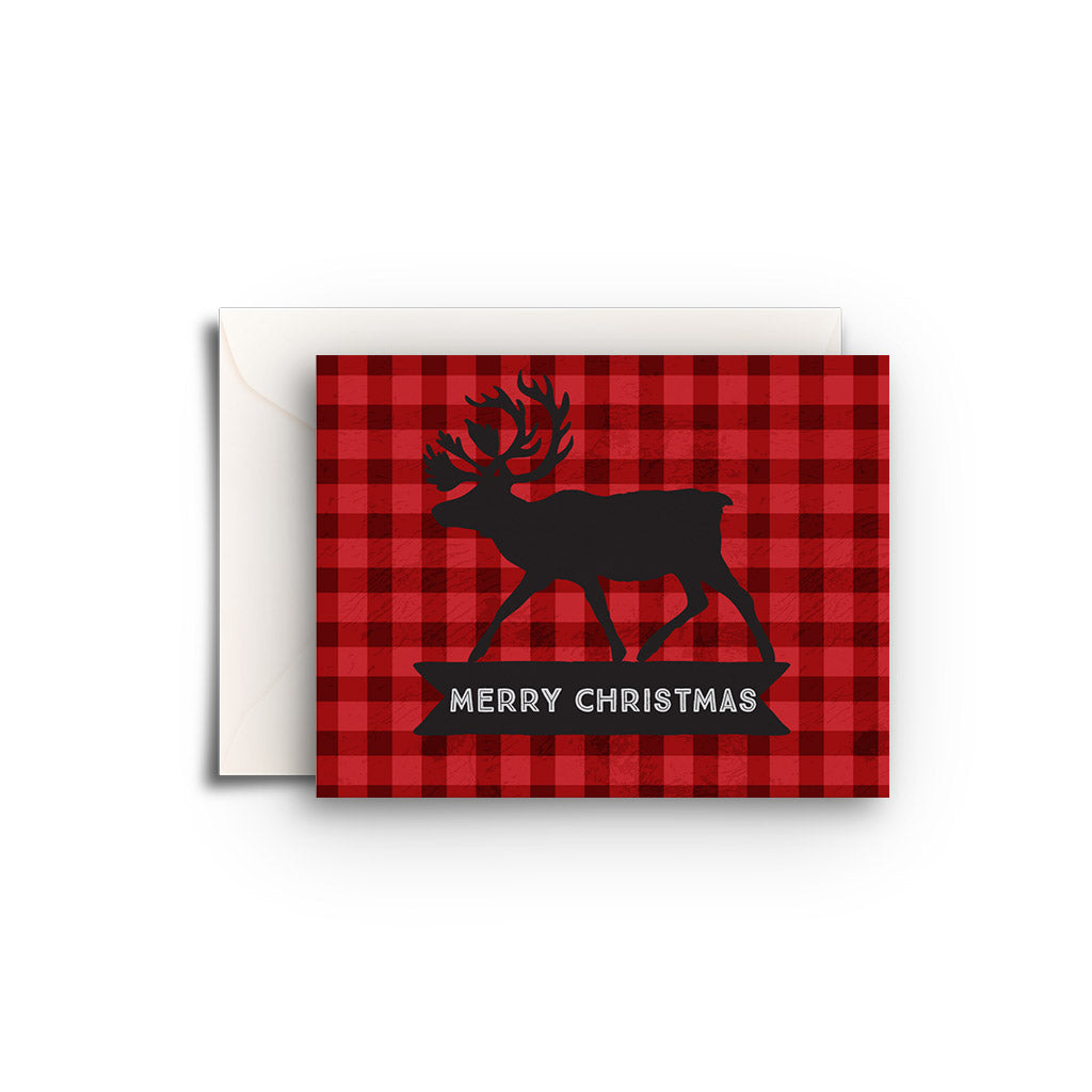 Christmas Moose Plaid Gift Enclosure