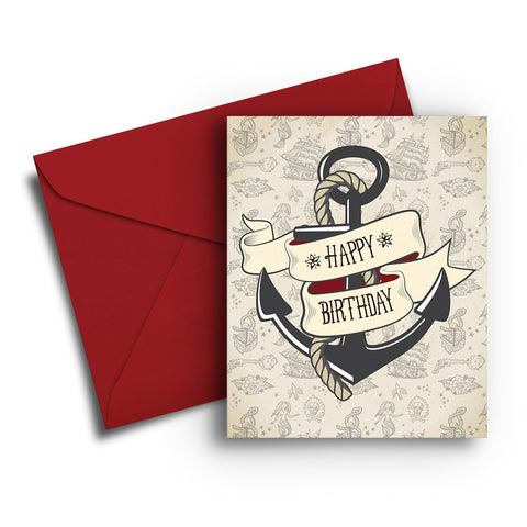 Anchor and Tattoo Print Birthday Card