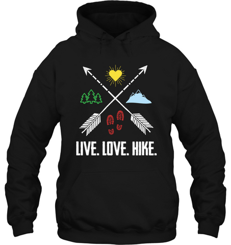 Live, Love, Hike - Gildan Heavy Hoodie - (100% Made In The USA)