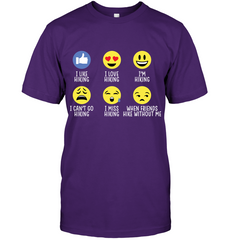 Hanes Tag FREE Hiking emoji T Shirt - (100% made in the USA)