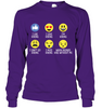 Image of Hanes Tag FREE Long Sleeve T Shirt Hiking emoji - (100% made in the USA)