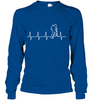 Image of Hanes Tag free Long Sleeve T Shirt - Heart Beat Collection - (100% Made in the USA)