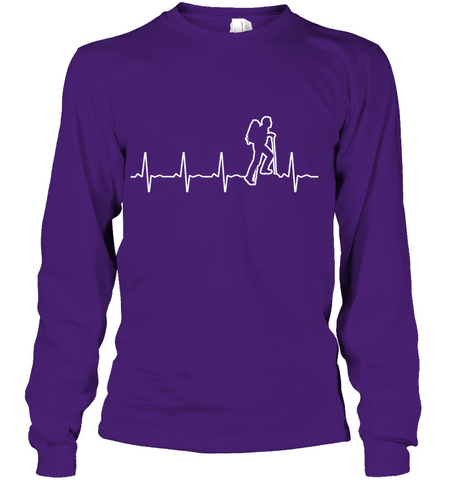 Hanes Tag free Long Sleeve T Shirt - Heart Beat Collection - (100% Made in the USA)