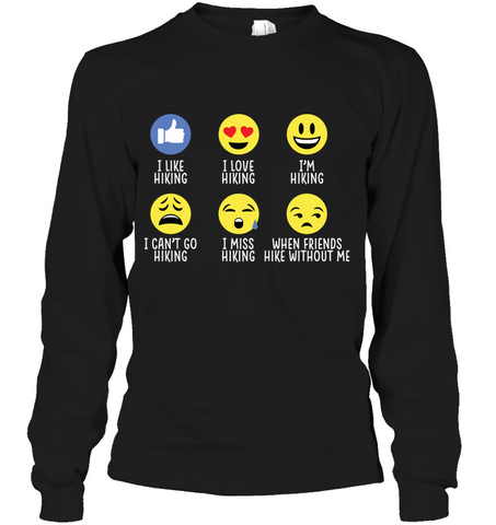 Hanes Tag FREE Long Sleeve T Shirt Hiking emoji - (100% made in the USA)