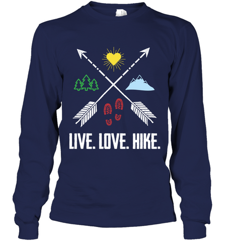 Hanes Tag Free Long Sleeve T-Shirt - Live, Love, Hike (100% Made In The USA)
