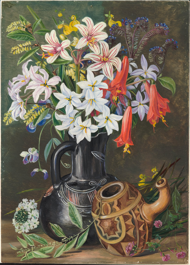 Detail of 27. Chilian lilies and other flowers in black jug and ornamented gourd for mate, 1880 by Marianne North