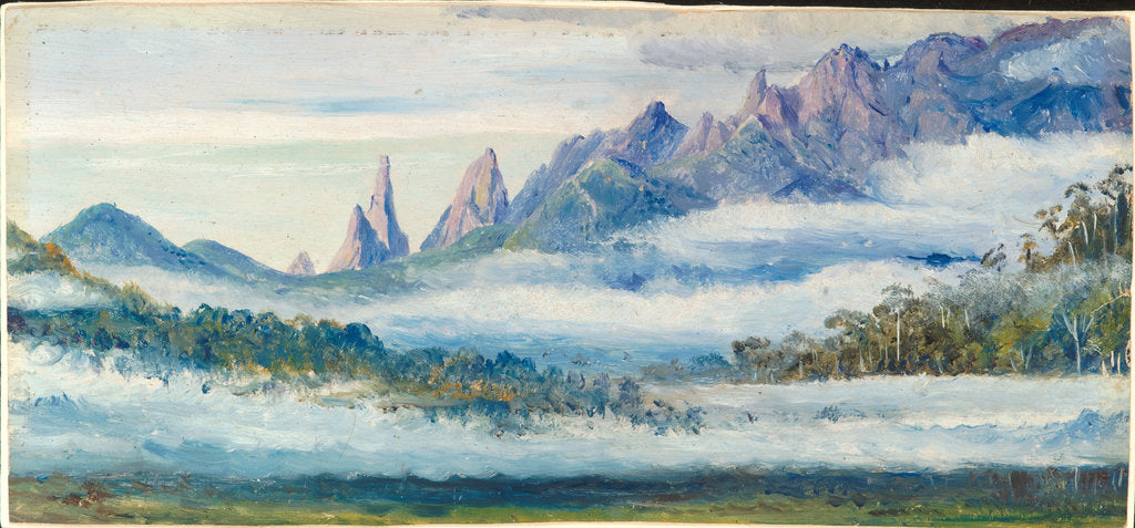 Detail of 141. Organ Peaks, seen over the morning mists from Theresopolis, Brazil. Original is oil on board, Marianne North, 1873. by Marianne North