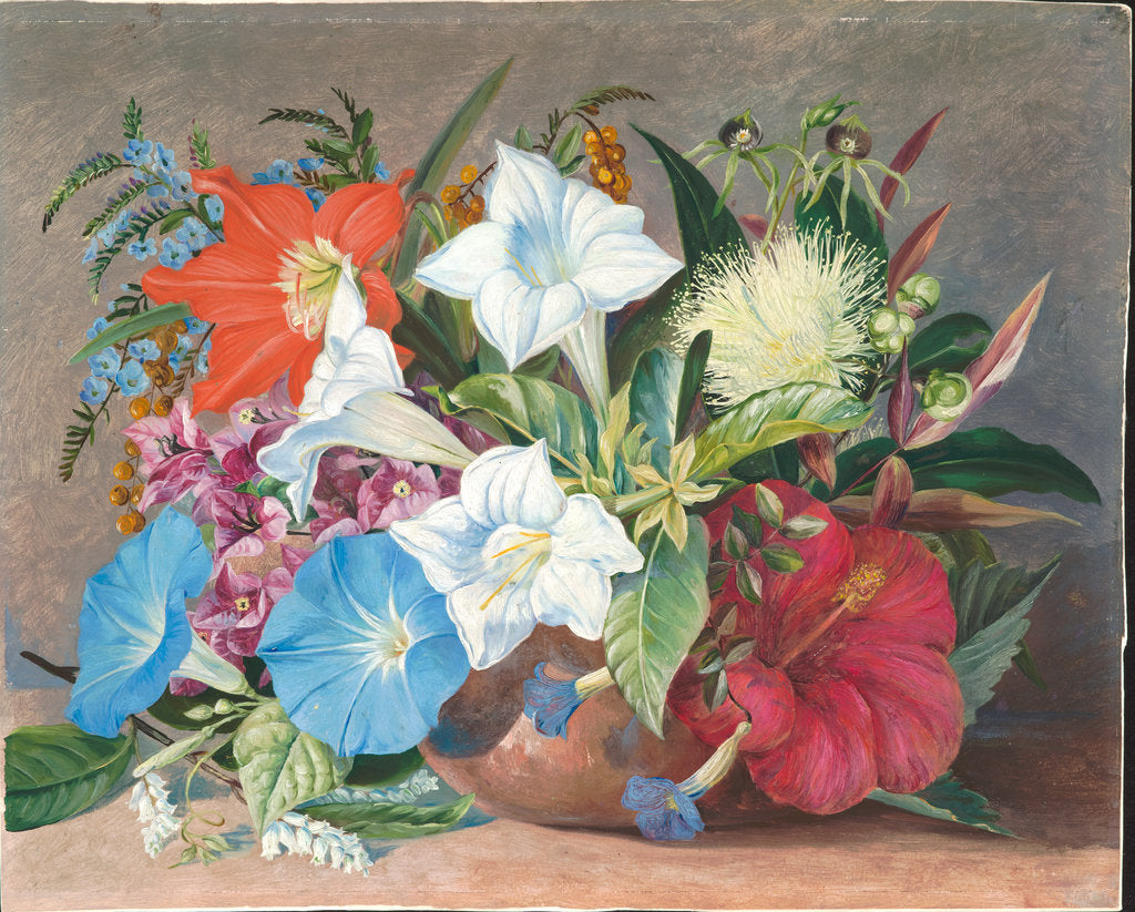 Detail of 180. Group of flowers, wild and cultivated, in Jamaica, 1872 by Marianne North