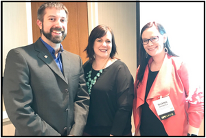 Todd Baylis, Tara Lashley of Junior Achievement of the Upper Midwest, and Shana Spencer of the Crohn's and Colitis Foundation after a speaking engagement at the 2019 Peer-to-Peer Professional Forum