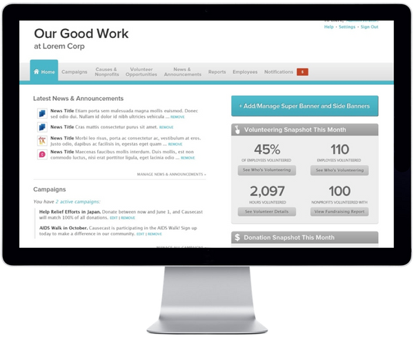 Give Back Nation Give@Work Causecast Volunteering Dashboard