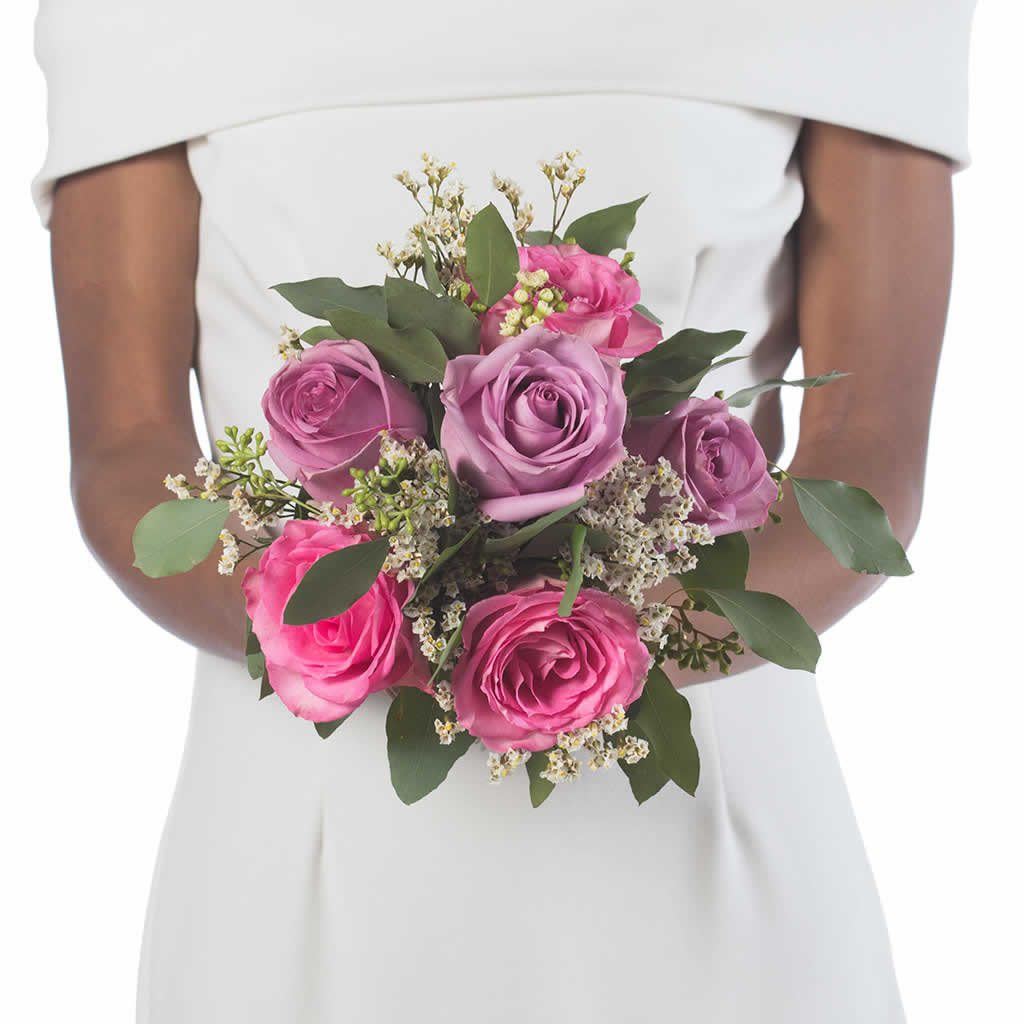 Lavender and pink roses bridesmaid bouquet blume designed by tickled pink bridesmaid bouquet mightylinksfo