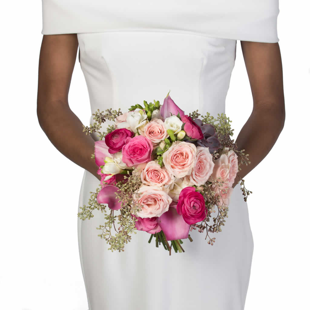 Light Pink Roses Hot Pink Ranaculus Bridal Bouquet Blume Designed By Victoria Swarovski