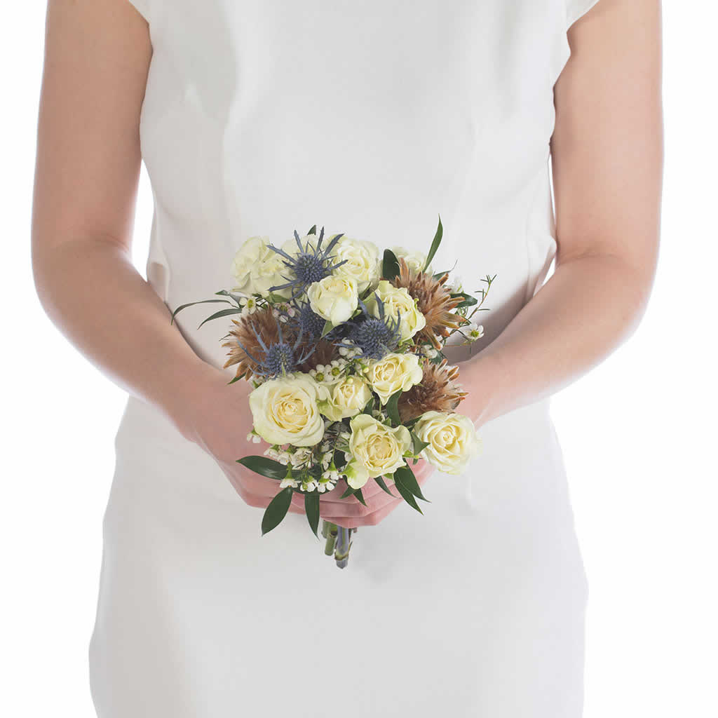White Roses Blue Thistle Bridesmaid Bouquet Blume Designed By