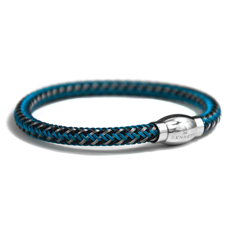 Royal Blue Cord & Stainless Steel Clasp with Rose Gold Plating - Leather Bracelet