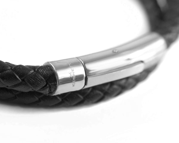Leather Wrap Around Bracelet - Black Cord & Stainless Steel Clasp