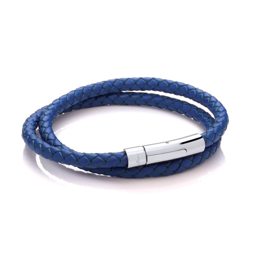 Leather Wrap Around Bracelet - Royal Blue Cord & Stainless Steel Clasp